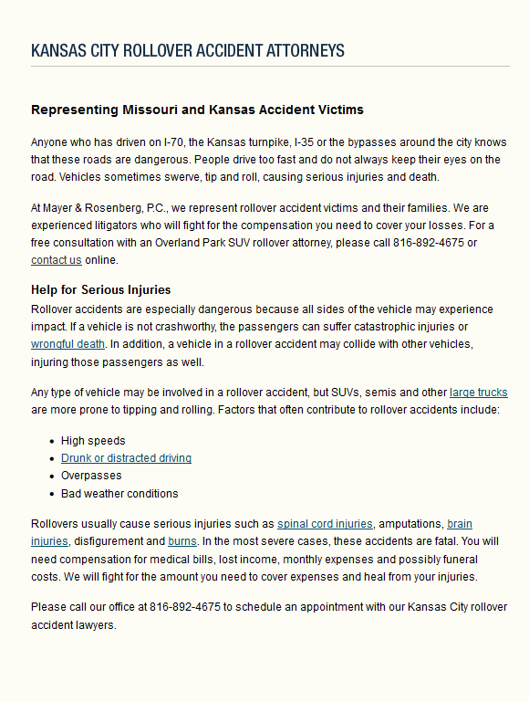 Rollover Car Accident Lawyers Kansas City