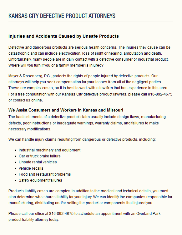 Kansas City Defective Product Injury Lawyers