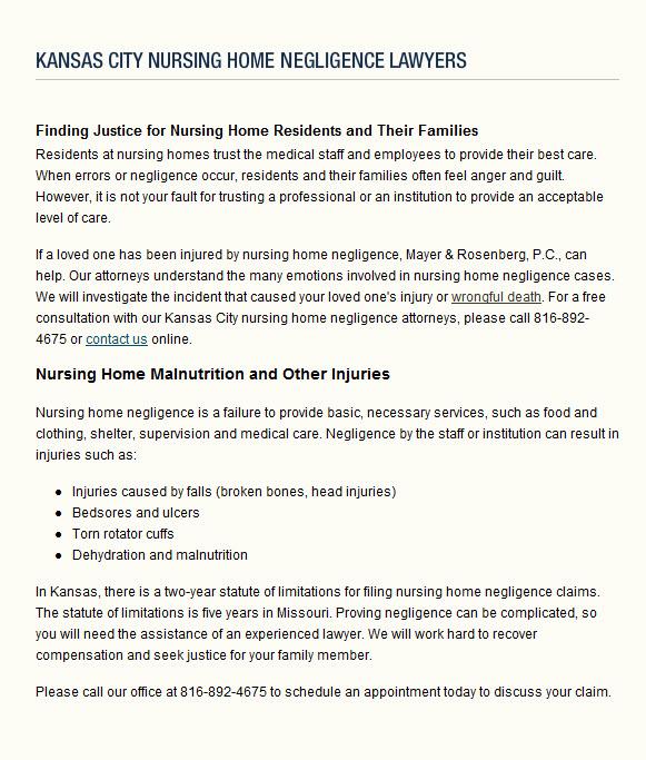 Kansas City Nursing Home Negligence Lawyers